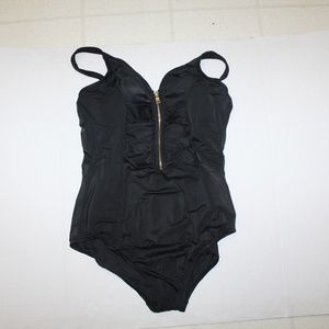 Coastal Blue Black Front Zip Swimsuit B071V2VG3R